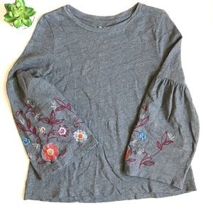 LOFT Floral Embroidered Bell Sleeve Sweatshirt